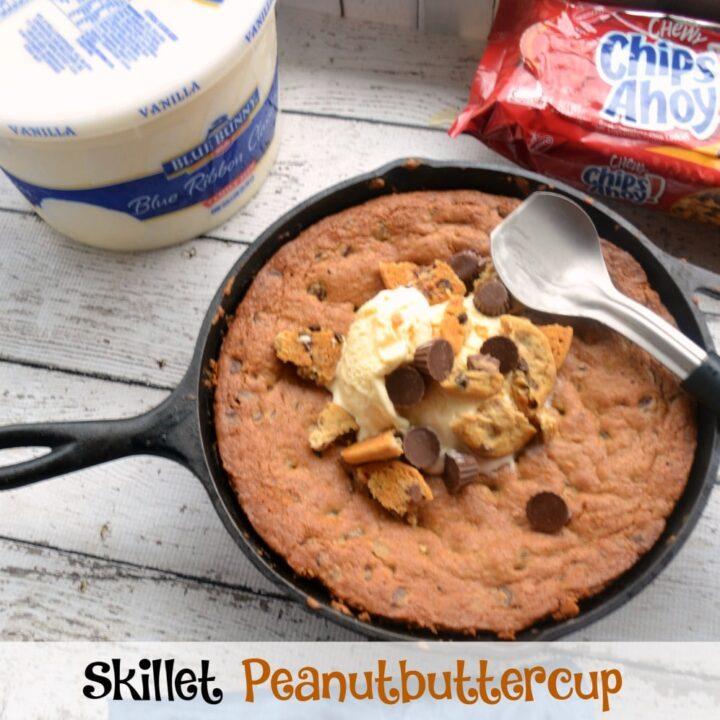 Skillet Peanutbutter Cup Icecream Cookie #SunsoutSpooonsOut