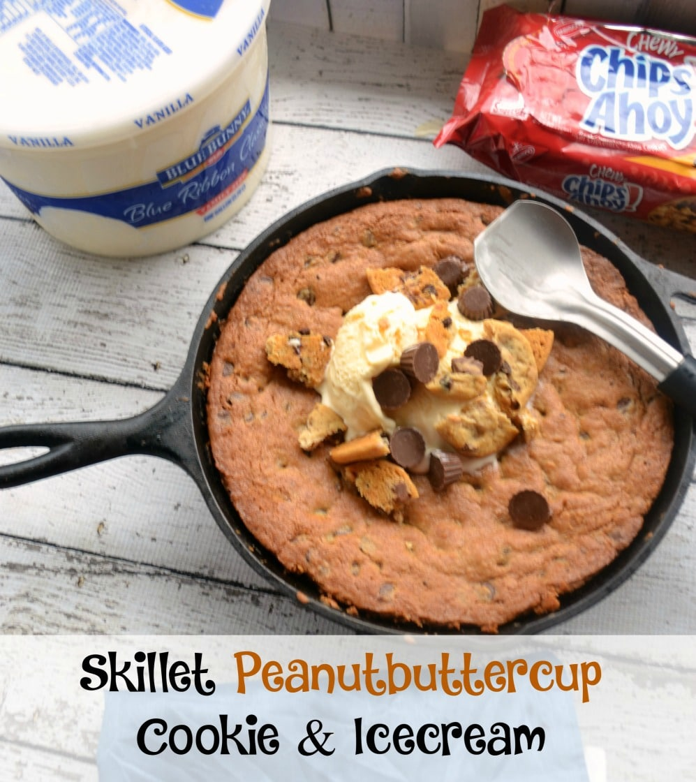 Skillet Peanutbutter Cup Icecream Cookie #SunsoutSpoonsOut