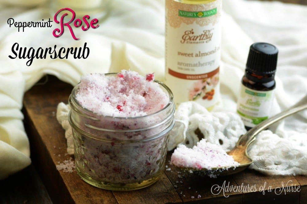Do it yourself Peppermint and Rose Sugar Scrub
