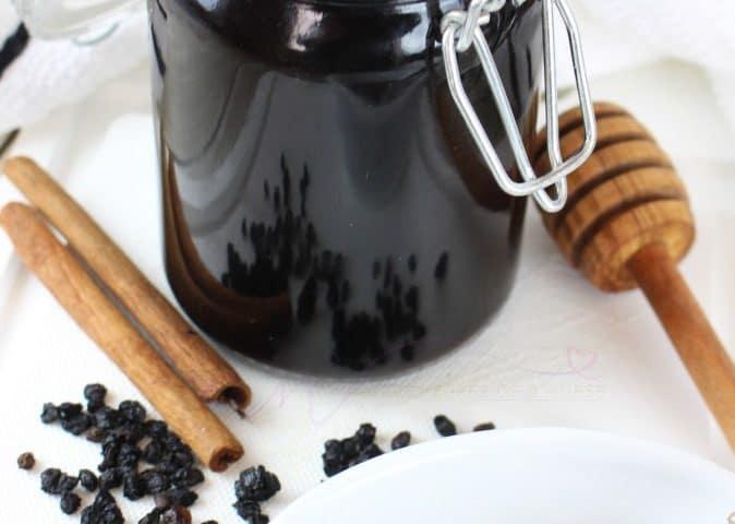 Instant Pot Elderberry Syrup in a Mason jar