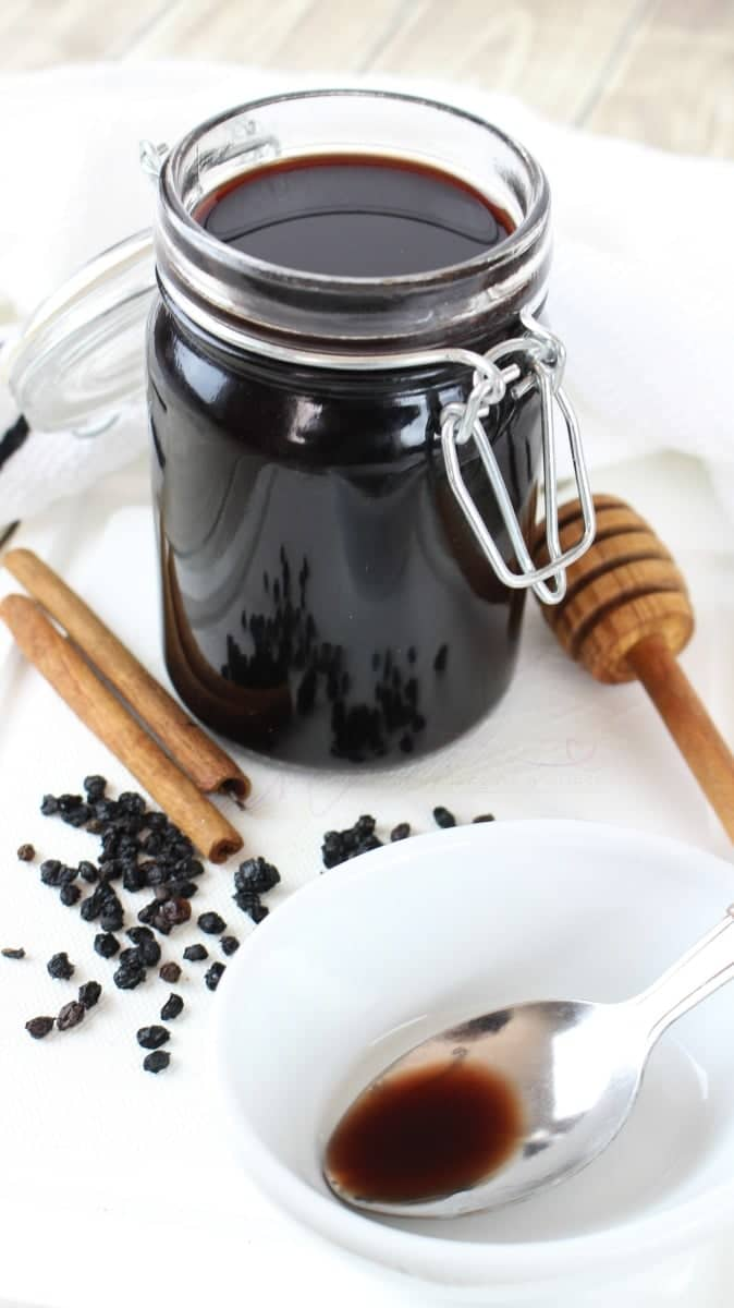 Instant pot Homemade Immune boost Elderberry Syrup in a Mason jar