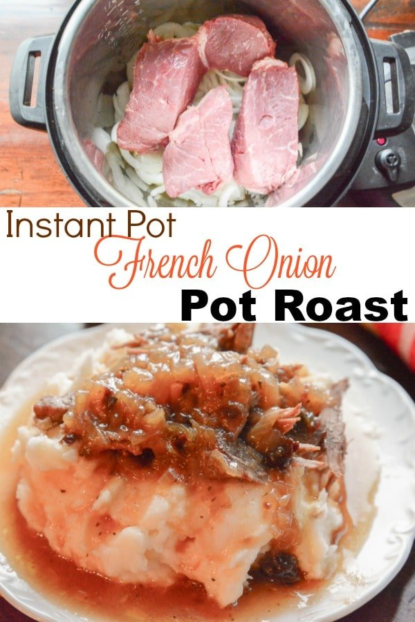This Instant Pot French Onion Pot Roast is simply amazing! Tender Juicy Beef smothered in French Onions all done in the Instant Pot!