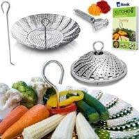 PREMIUM Vegetable Steamer Basket - BEST Bundle - Fits Instant Pot - BONUS Accessories - Safety Tool + eBook + Peeler - 100% Stainless Steel - Insert For Instapot Pressure Cooker 3, 5, 6 Quart & 8 Qt
