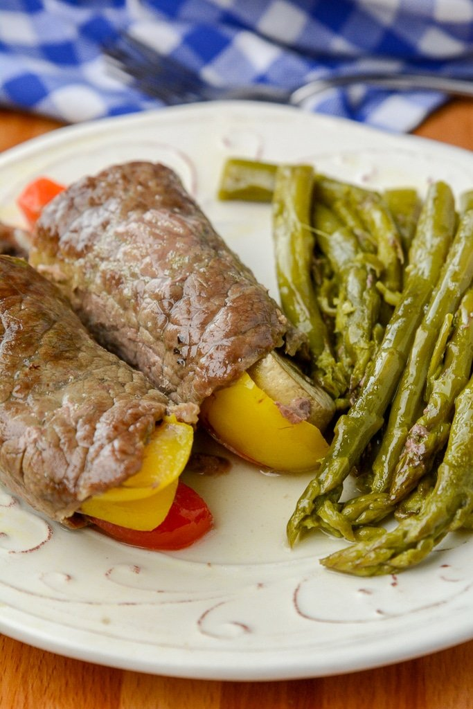Instant pot or Foodi Keto Steak Rolls and Asparagus