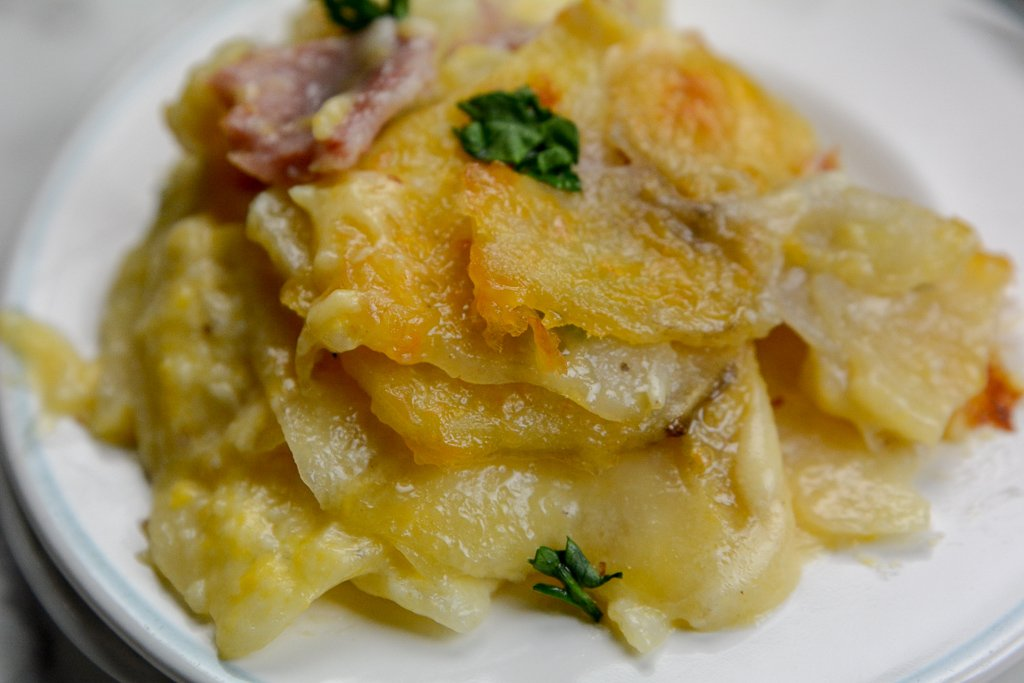 Easy Homemade Au Gratin Scalloped Potatoes and Ham