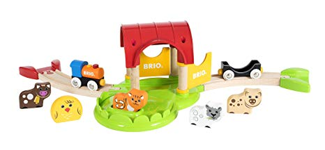 Brio My First Farm Wooden Toy Train Set for Kids Ages 18 Months and Up - Made with European Beech Wood and Works with All Wooden Railway Sets