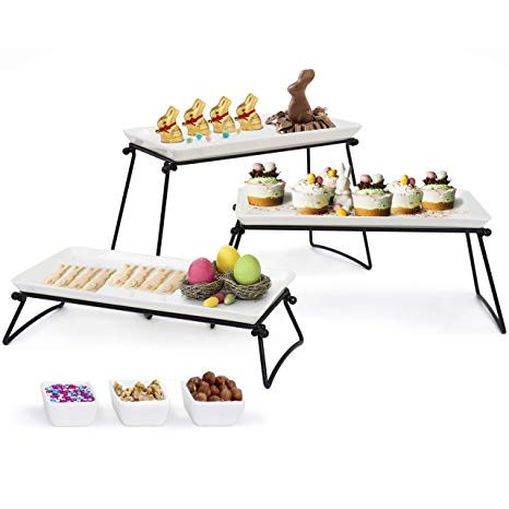 """Elegant 3 Tier Serving Stand- New 2019 Model – 3 X-Large Ceramic Plates (13.5""""x6.5"""") +3 Sauce Dishes – The Complete Serving Set For Parties By Elite Creations"""