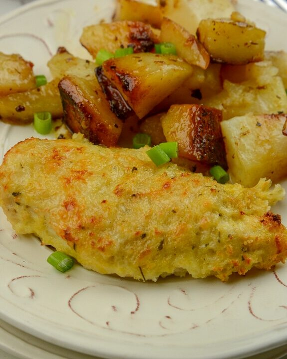 Ninja Foodi Garlic and Parm crusted chicken with roasted potatoes