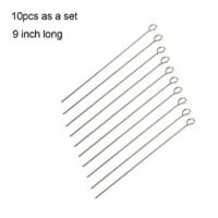 ALODZ 9 Inch Long Stainless Steel Skewers, Roast Goose Needle Grilling Barbecue Skewers, BBQ Skewers, Shish Kebab Kabob Skewers, Set of 10