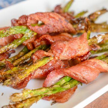 Air Fryer or Ninja Foodi Bacon Wrapped Asparagus