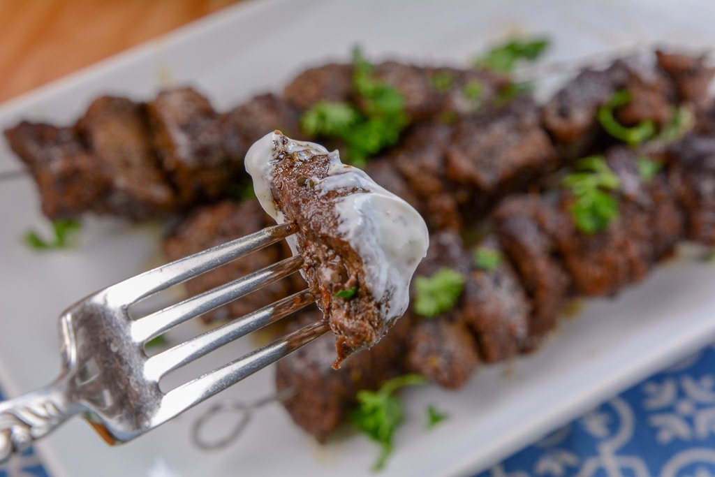 Instant Pot Steak Kabob on fork