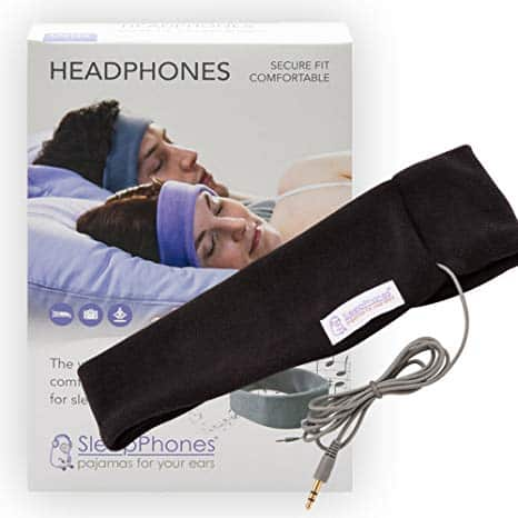 AcousticSheep SleepPhones Classic | Corded Headphones Designed for Sleep, Travel and More | Flat Speakers in a Comfortable Headband | Midnight Black - Fleece Fabric (Size M)