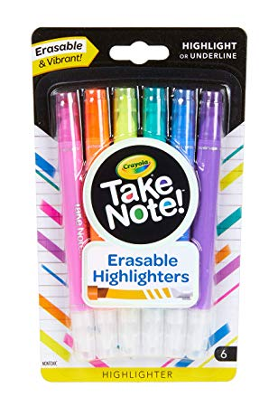 Crayola Take Note! Erasable Highlighters, School Supplies, 6Count
