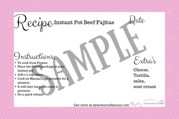 Easy Instant Pot Dump Freezer Meal Label
