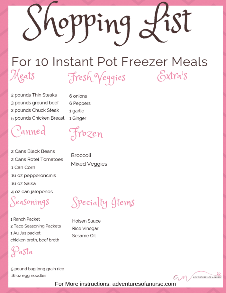 A Month of Easy Freezer Dump Meals Shopping List