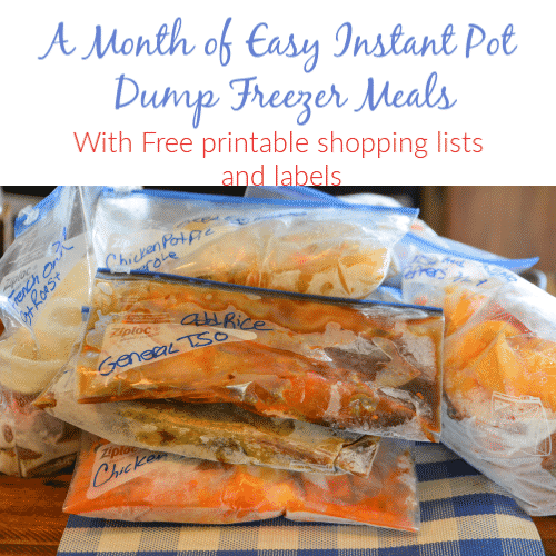 a month of easy instant pot dump freezer meals with printable