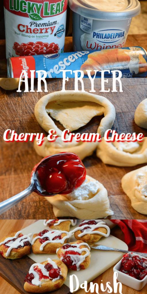air fryer cream cheese and cherry danish