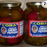 Cora Whole Pickled Hot Cherry Peppers (Hot), 1 Quart (2) Pack