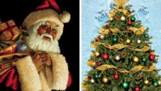 "Santa Claus and Christmas Tree Combo Decorations 34.5""x60"" Backlit Poster 2 Posters"