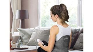 Sunbeam Heating Pad Back Wrap with Adjustable Strap | Contoured for Back Pain Relief
