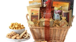 Deluxe Gourmet Wicker Gift Basket by BroadwayBasketeers.com