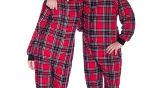 Flannel Adult Footed Pajamas in Red and Black Plaid Onesie for Men & Women