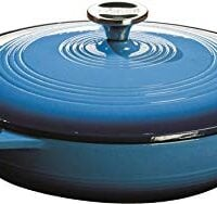 Lodge 3.6 Quart Cast Iron Casserole Pan. Blue Enamel Cast Iron Casserole Dish with Dual Handles and Lid (Carribbean Blue)