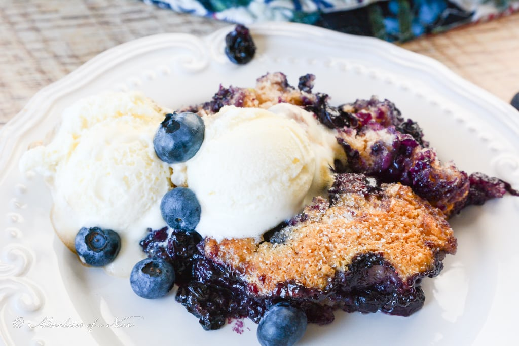 Blueberry Cobbler with ice cream