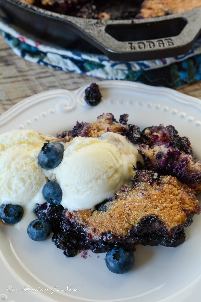 Blueberry cobbler plated