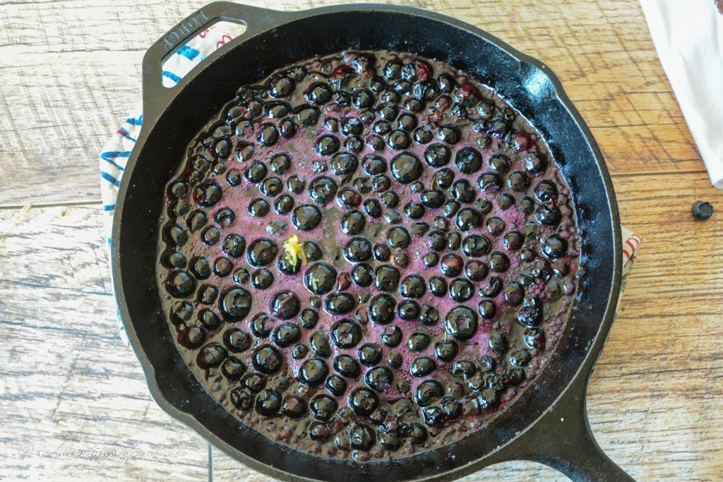 Blueberry saute in pan