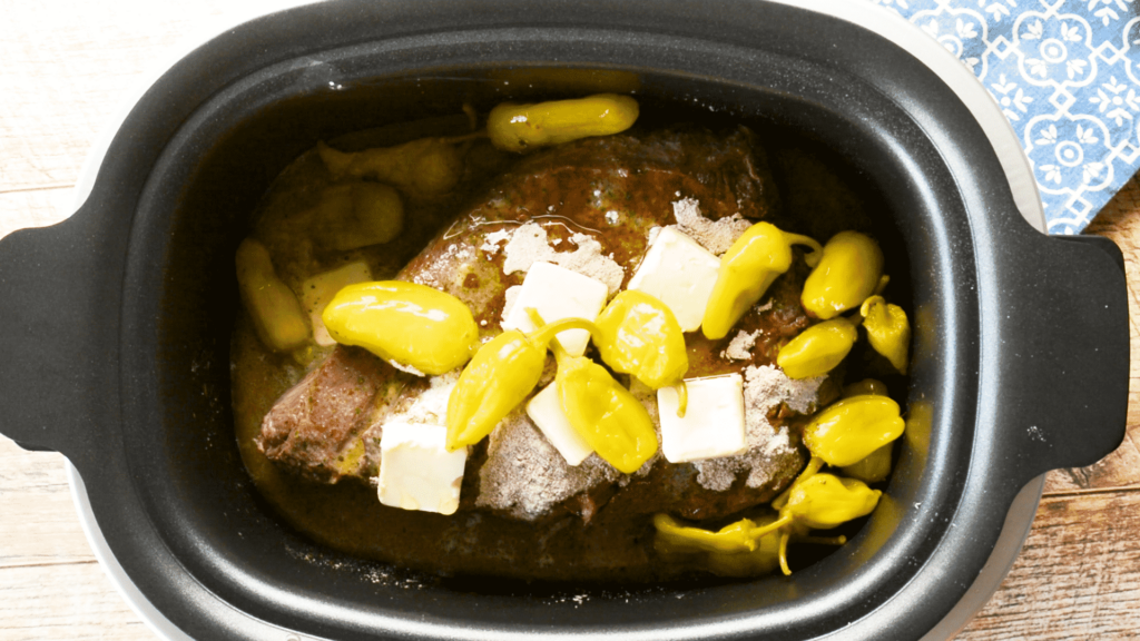 Mississippi Pot Roast with butter and peppers