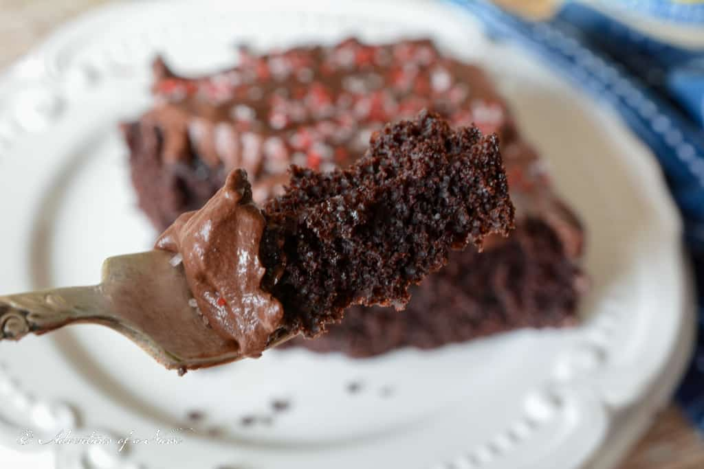 Old Fashioned Chocolate Mayonnaise Cake on a fork