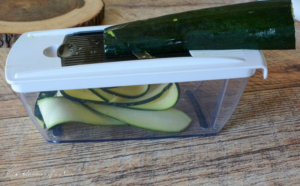 Slicing Zucchini for Zucchini Lasagna
