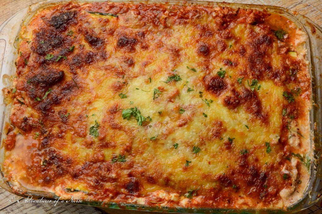 Top of Zucchini Lasagna out of Oven