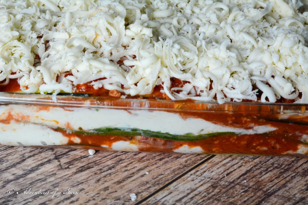 Zucchini Lasagna with cheese for oven