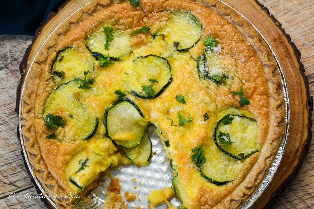 Zucchini Quiche in pan