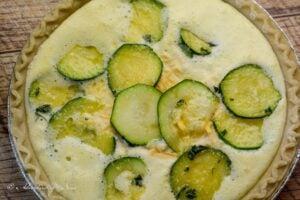 Zucchini Quiche ready for oven