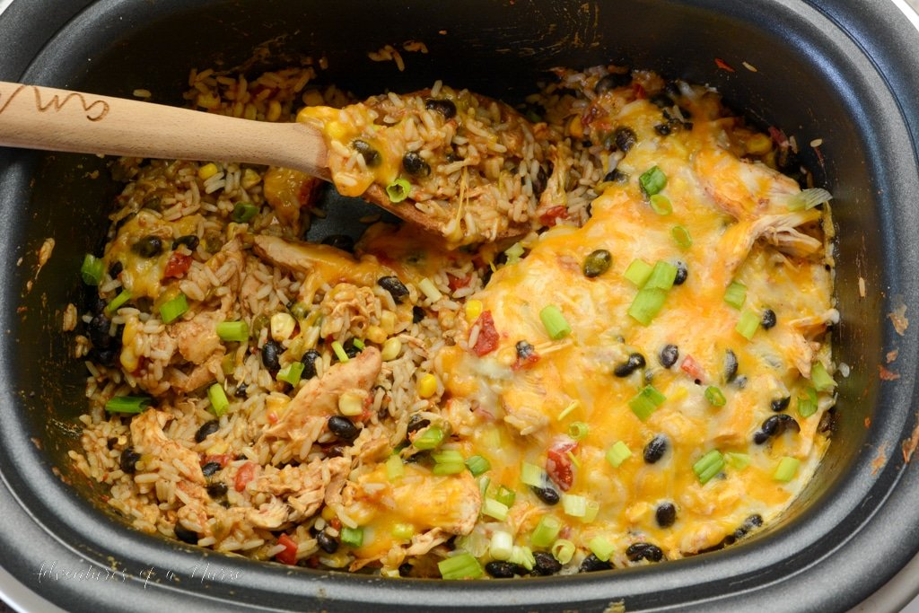 Chicken Burrito Bowl in slow cooker