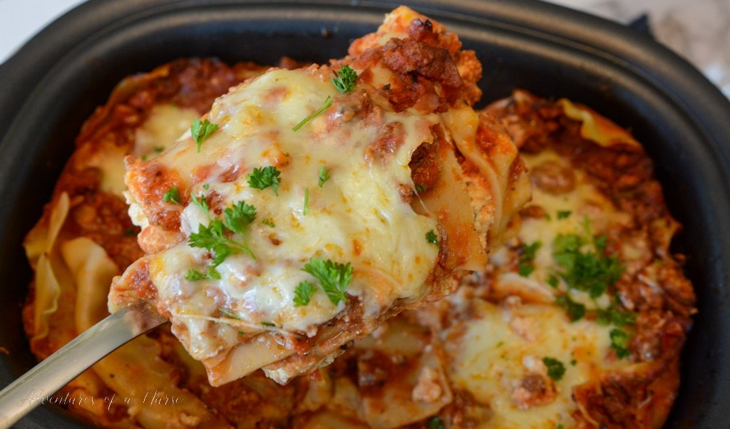 Crockpot Lasagna in the slow cooker