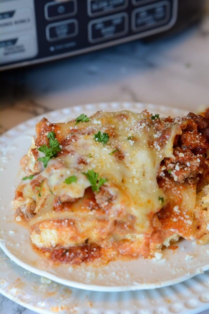 Crockpot Lasagna on plate