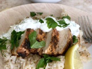 Grilled Greek Lemon Chicken With Creamy Tzatziki Sauce