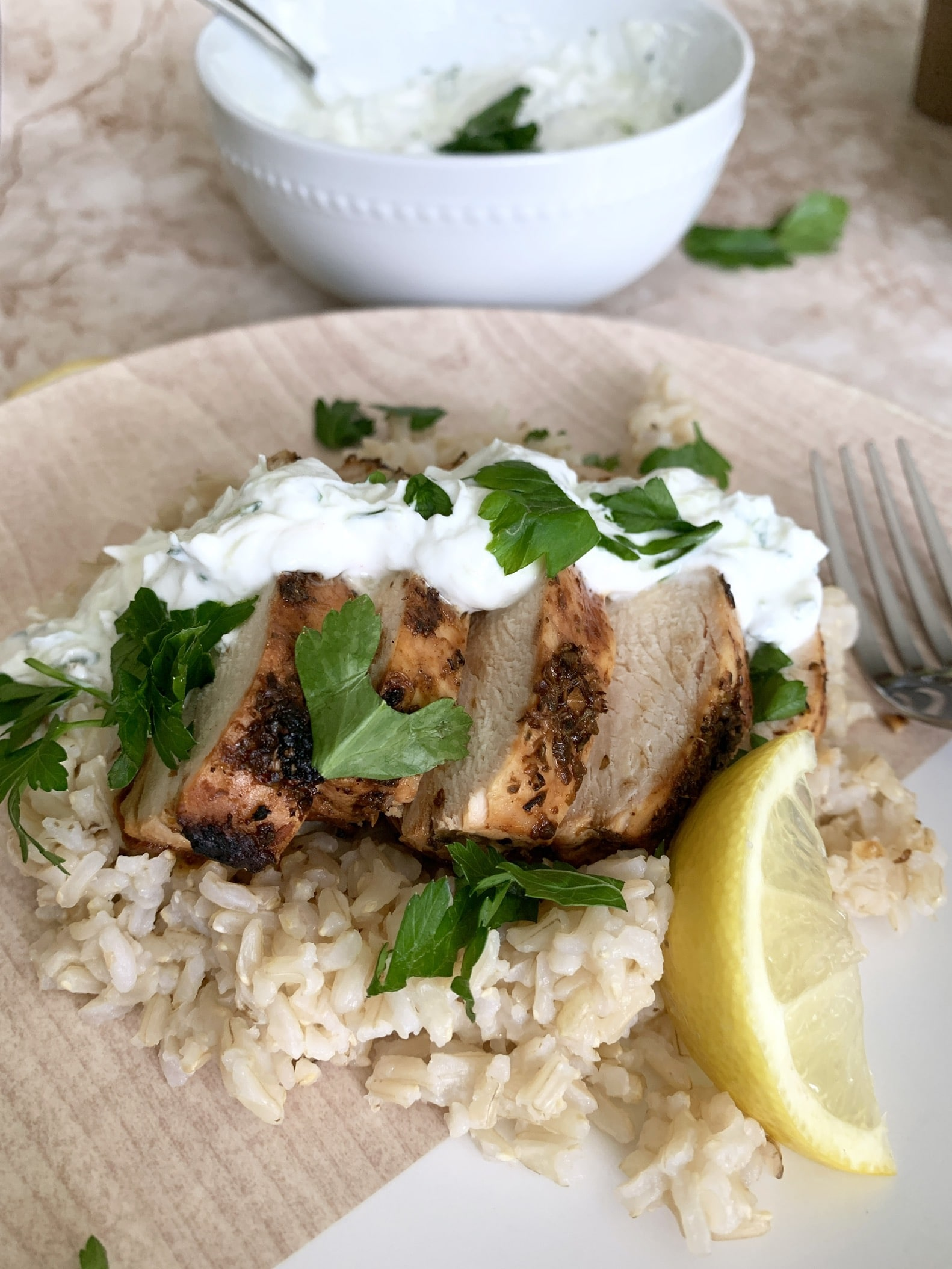 Grilled Greek Lemon Chicken With Creamy Tzatziki Sauce