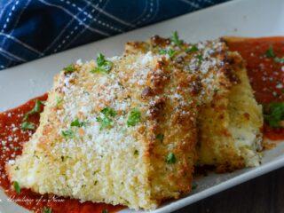 Olive Garden Copy Cat Lasagna Fritta Air Fryer on plate