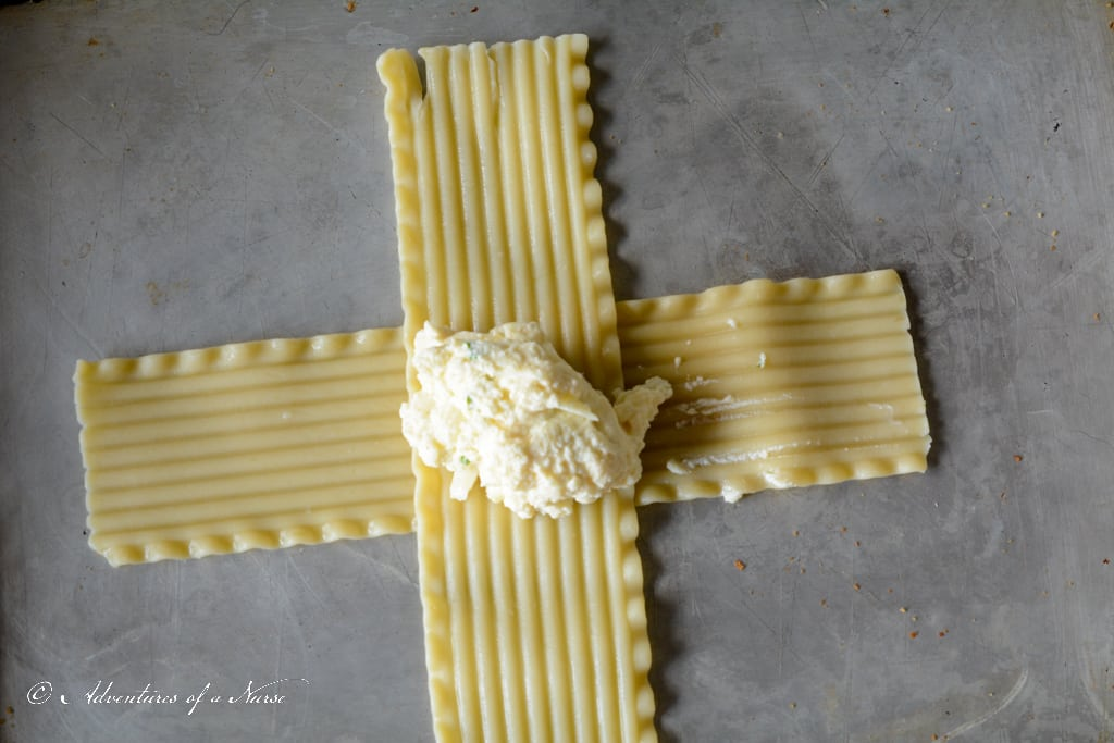 Ricotta in center of pasta