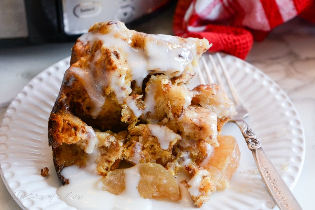 Slow Cooker Apple and Cinnamon French Toast Casserole on plate