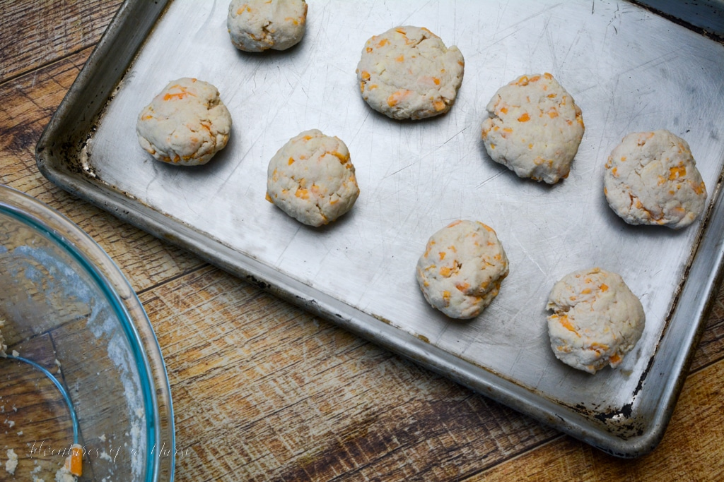 Biscuits on baking sheet