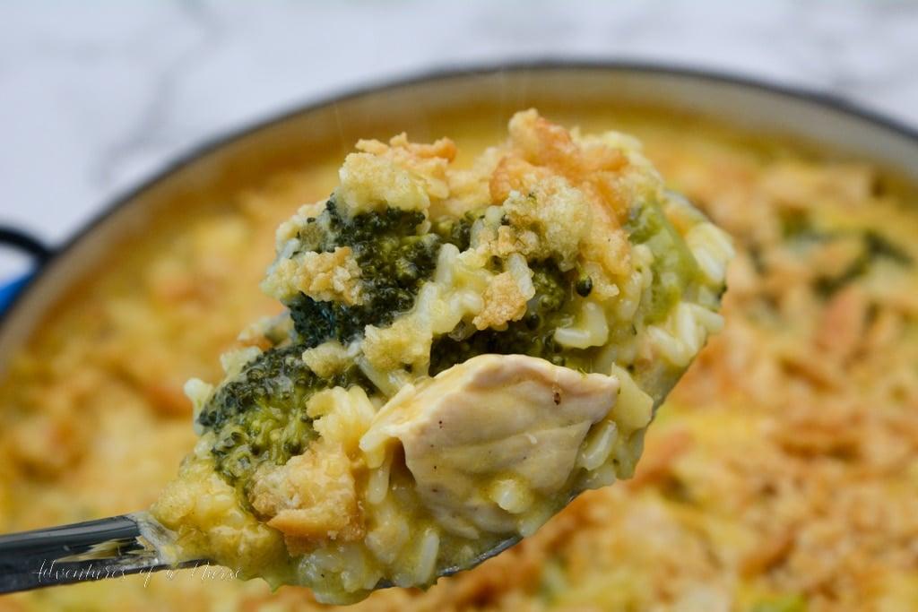 Chicken Broccoli Casserole on a spoon