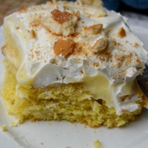 Classic banana poke cake