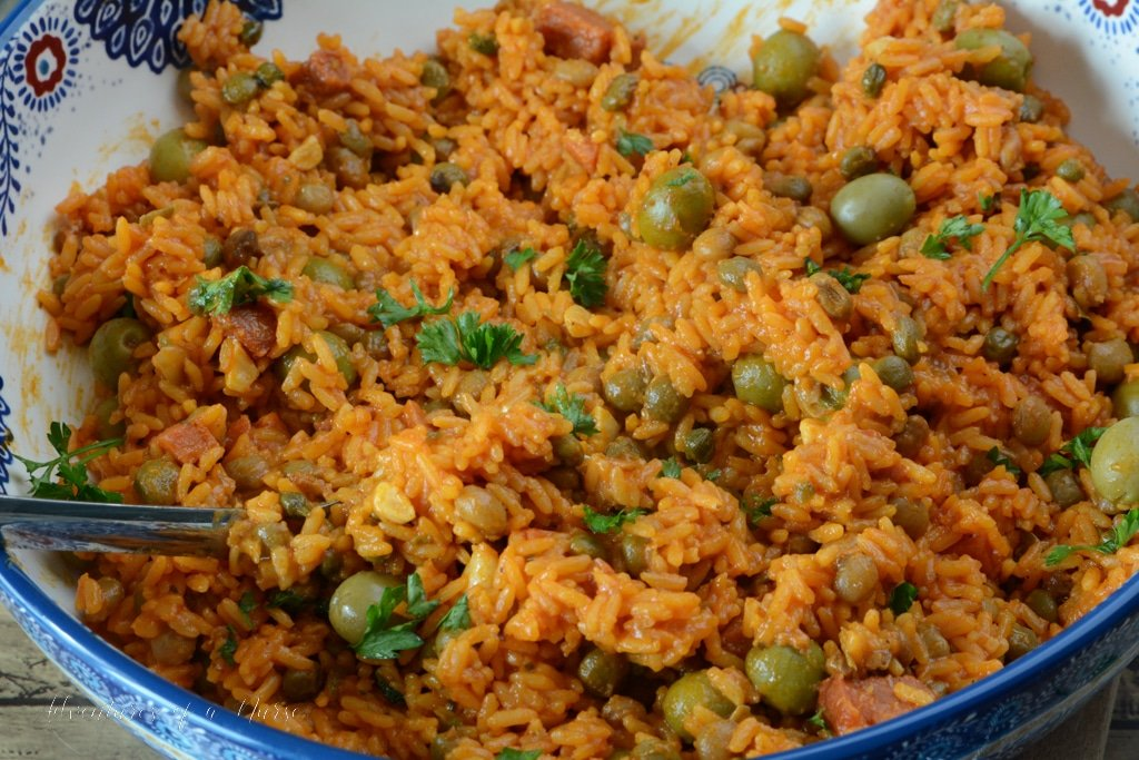 Puetro Rican Rice Recipe in serving bowl
