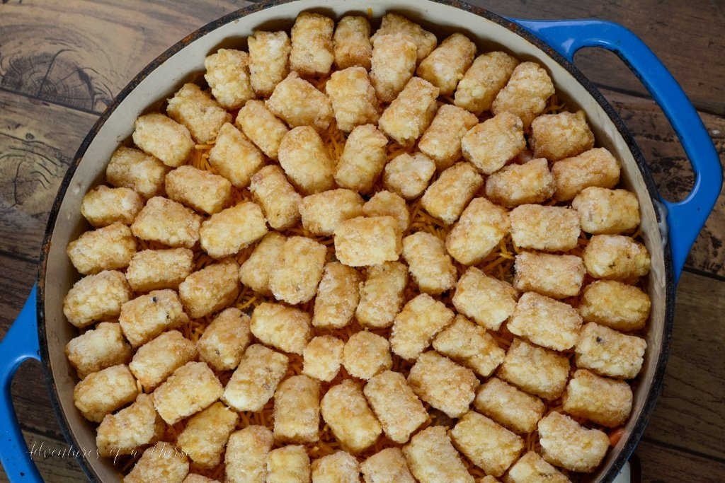 Tater Tot Casserole ready for oven